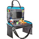 Kids Travel Tray Backseat Car Organizer Case Snack and Play Desk with Tablet Pocket Fits iPad - Entertainment Center - Holds Cups Snacks Toys - Zips Up to Carry With You