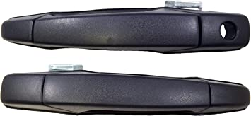 Exterior Outside Door Handle Textured Black with Keyhole Front Left Right Pair