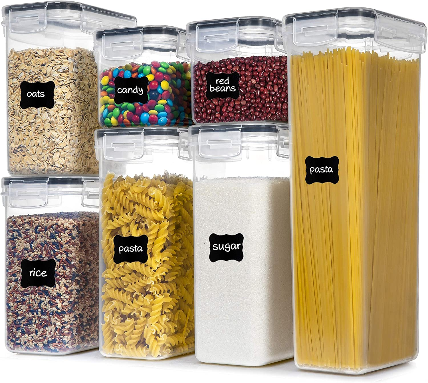 Airtight Food Storage Containers With Lids, PantryStar 7 PCS BPA Free Kitchen Storage Containers for Spaghetti, Pasta, Dry Food,Flour and Sugar, Plastic Canisters for Pantry Organization and Storage