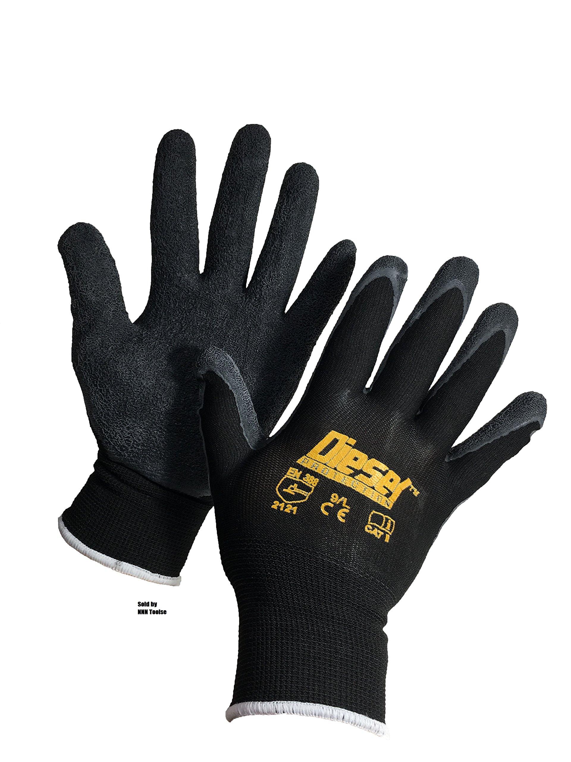 Large/ 6 Pair Diesel-Grip Black Safety Gloves General Purpose