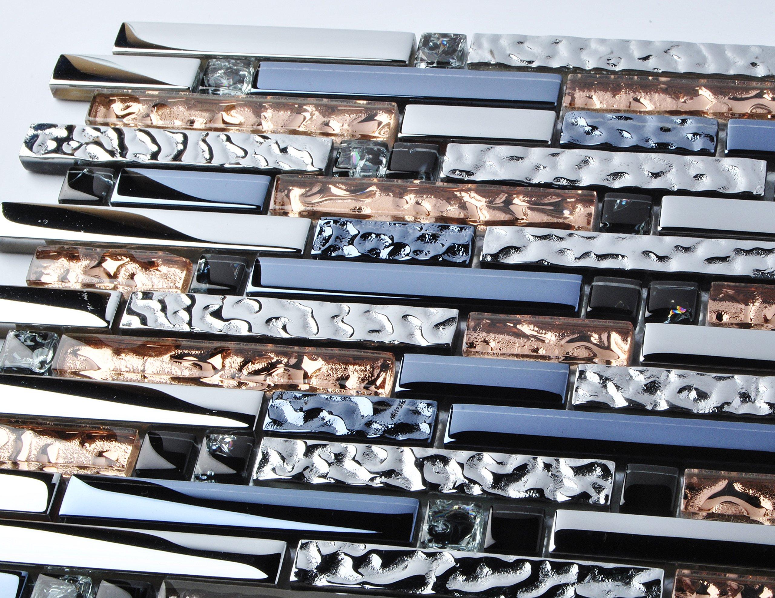 TST Mosaic Tiles Crystal Glass Tile Interlocking Black Brown Mosaic Bath Kitchen Fireplace Decor TSTGT107 (5 PCS [12'' X 12''/Each]) by TST MOSAIC TILES (Image #6)