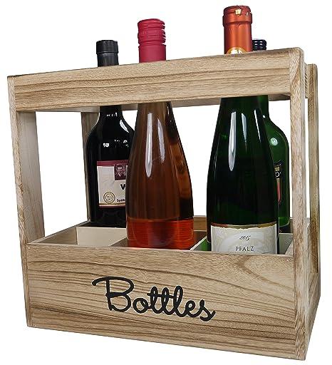 khevga cajón-estantería para 6 botellas de vino – Botella caja de madera