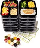 14-Pack 3 Compartment Meal Prep Containers with Lids, 1oz Leak Proof Sauce Cups & Labels Set. Microwave & Dishwasher Safe, BPA Free, Portion Control Bento Lunch Box Food Containers (Black)
