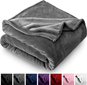 Bare Home Microplush Velvet Fleece Blanket - Twin/Twin Extra Long - Ultra-Soft - Luxurious Fuzzy Fleece Fur - Cozy Lightweight - Easy Care - All Season Premium Bed Blanket (Twin/Twin XL, Grey)