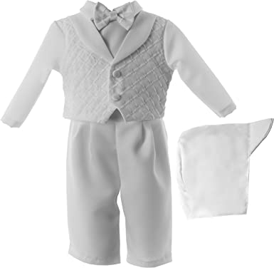 Lauren Madison Baby-Boys Newborn Christening Baptism 3 9-12 Months Piece Shantung Short Pant Outfit Set,White