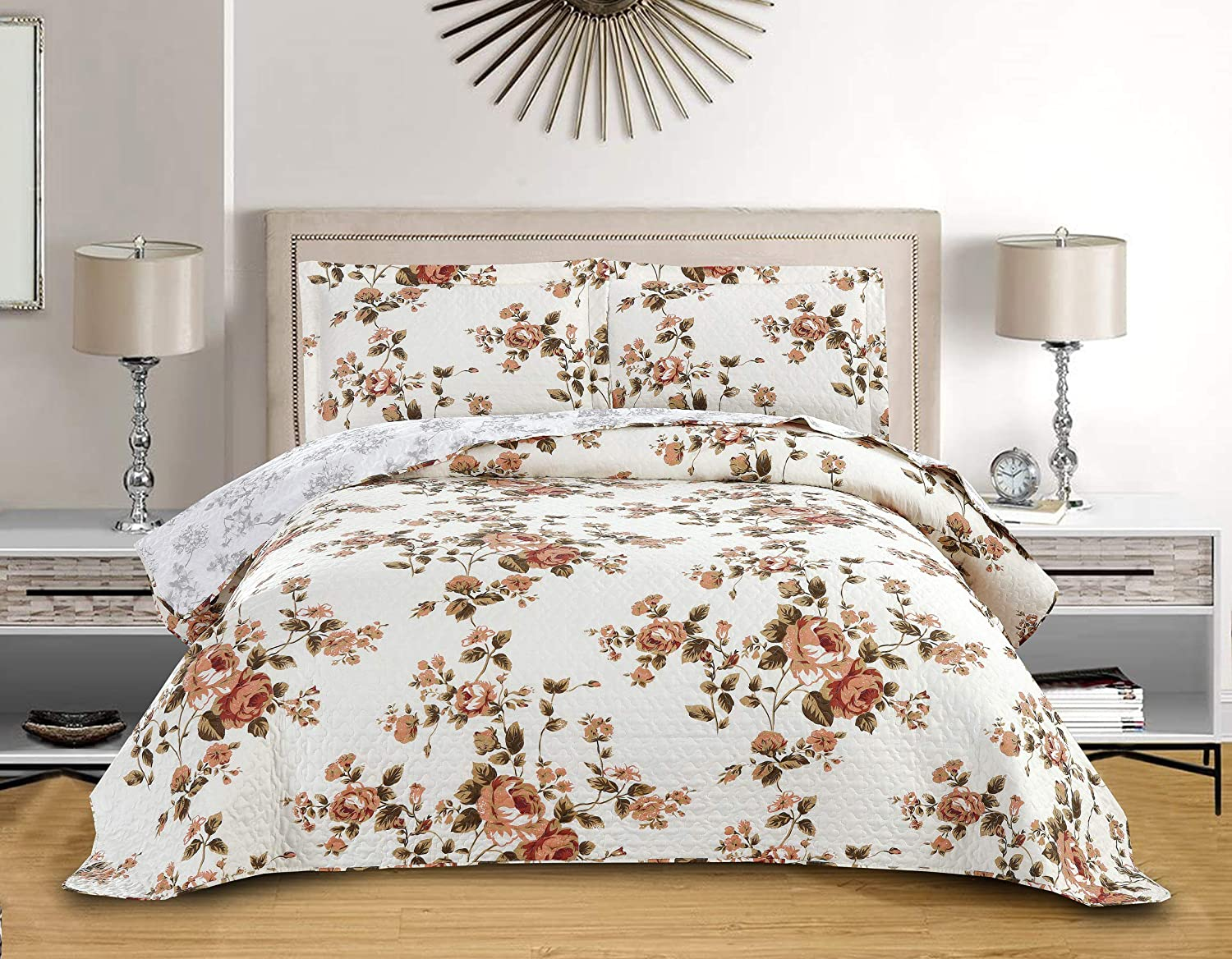 Yc 3-Piece Flower Bedding Rose Floral Quilt Set for Girls Twin Size Floral Bedspread Summer Quilts Comfortable Coverlets Orange Printed Two Pillow Shams