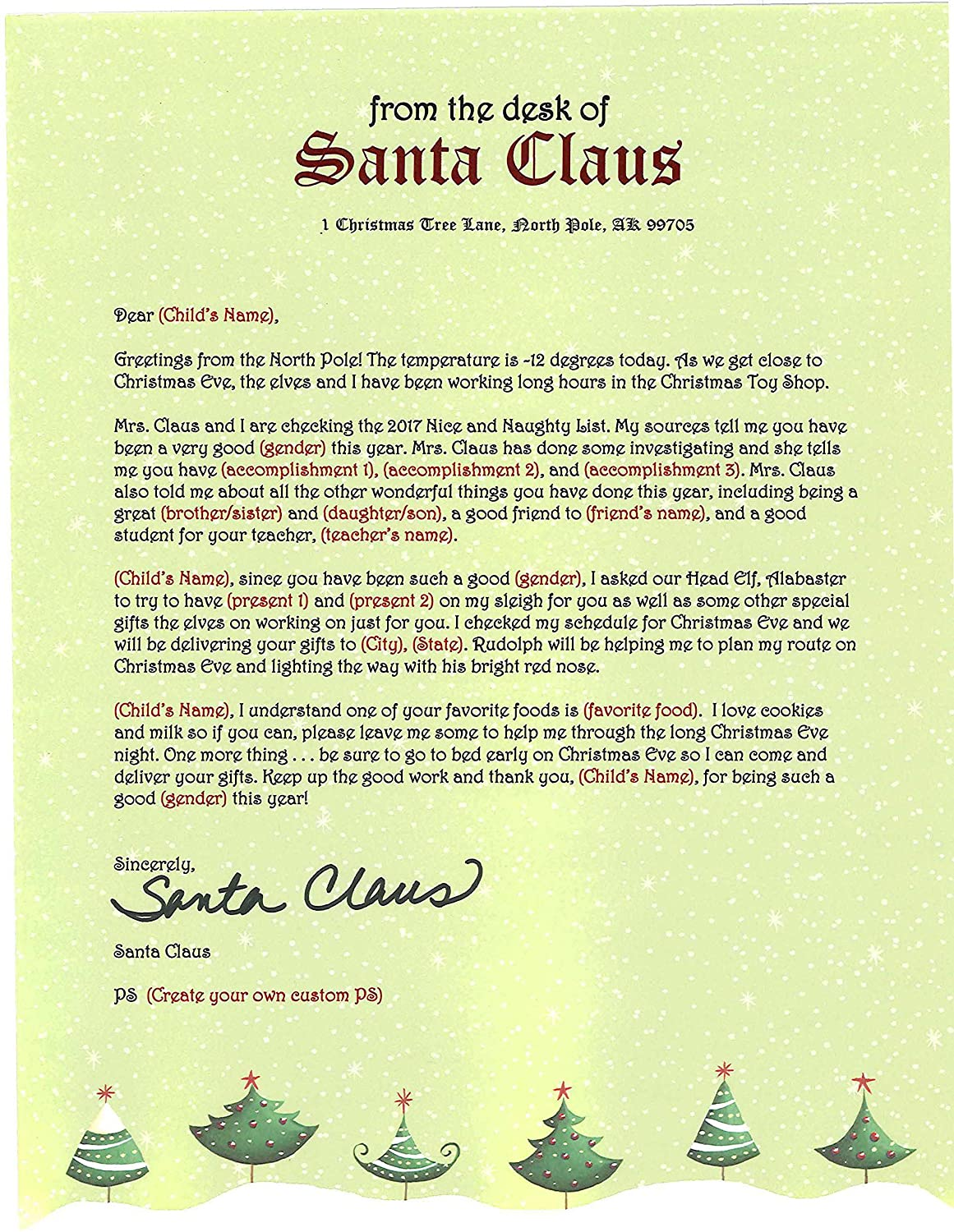 Amazon Personalized Letter From Santa Mailed From The North