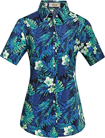SSLR Camisa Hawaiana Aloha Mujer Manga Corta Blusa Casual Estampada Jungla: Amazon.es: Ropa y accesorios