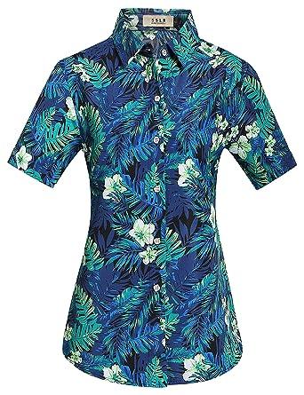 110dfe668 SSLR Women's Jungle Prints Casual Blouse Short Sleeve Aloha Hawaiian Shirt  (X-Small,