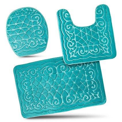 Amazon Com Bathroom Rug Mats Set 3 Piece Memory Foam Extra Soft