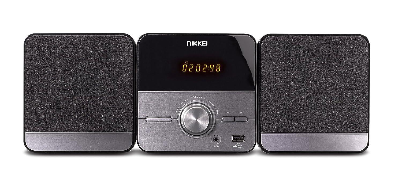 Nikkei nmc306 – Microcadena Hi-Fi con Radio, Reproductor de mp3, CD, USB, Entrada Auxiliar y Mando a Distancia Gris/Negro