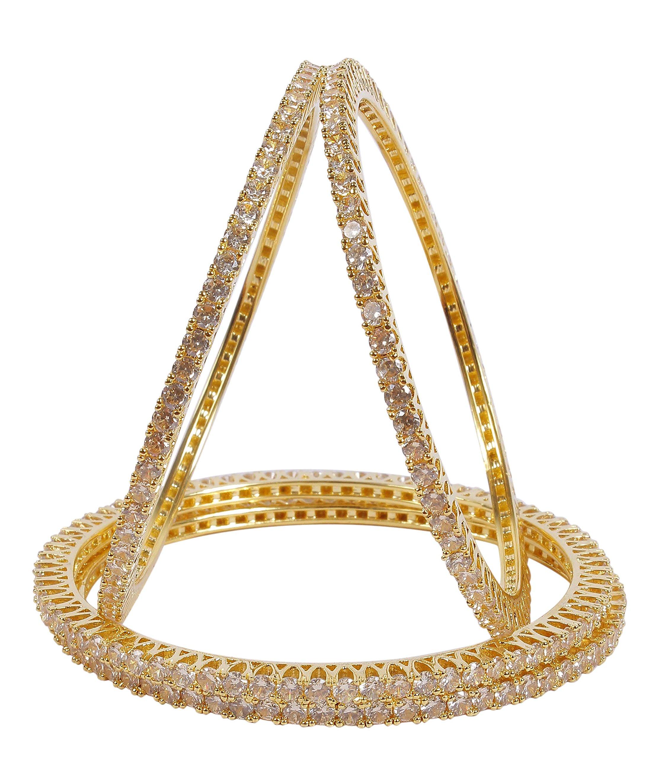 MUCHMORE Bollywood Gorgeous Style Gold Tone Diamond Swarovski Elements Indian Bangles Traditional Jewelry (2.6)
