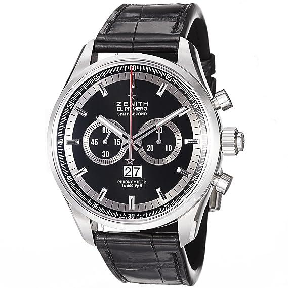 Zenith hombre 44 mm pulsera cuero negro automático reloj 03.2050.4026/91.c714: Amazon.es: Relojes