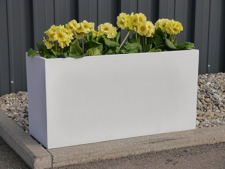 Pflanztrog der BUNDESGARTENSCHAU L100x B40x H50cm aus Fiberglas in perlweiß, Pflanzkübel, Blumenkübel
