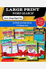 KAPPA Super Saver LARGE PRINT Word Search Puzzle Pack-Set of 9 Carry-Along Digest Size Books Paperback