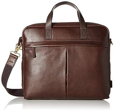 898d8858a30 Fossil Men s Buckner Leather Brief Workbag Laptop Messenger Bag, Dark  Brown, One Size