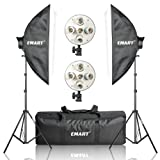 Emart 2250W Photography Five Light Head Softbox Continuous Lighting Studio Portrait Kit include 10 x CFL 45W Bulbs, 2 x Light Stand and Carry Bag