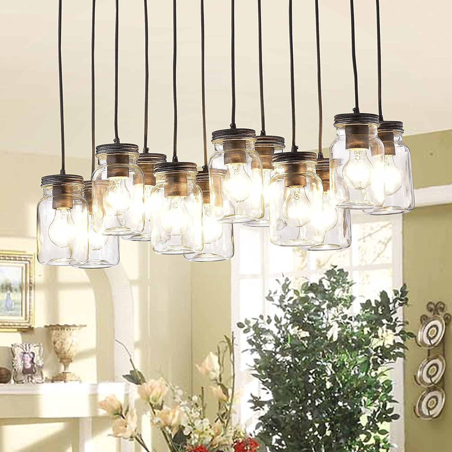 Jojospring Belinda 12 Light Clear Glass Canning Jar Pendant How To Install A Chandelier And Dimmer Switch Apps Directories