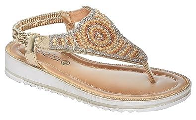 Shelikes new womens diamante sparkly summer open toe slippers flat shelikes new womens diamante sparkly summer open toe slippers flat wedding sandals uk 3 junglespirit Images