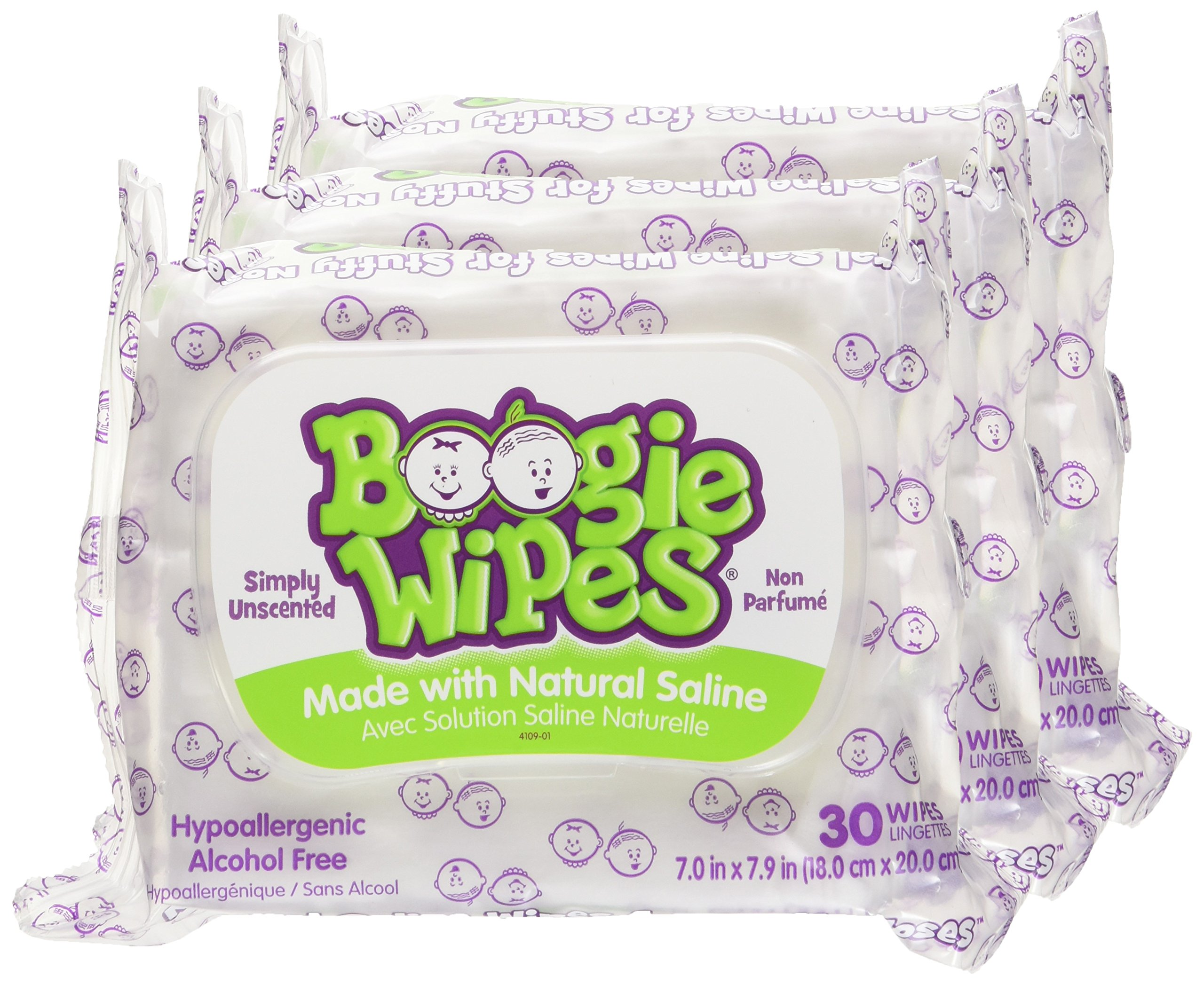 Boogie Wipes Soft Natural Saline Wet Tissues for Baby and Kids Sensitive Nose, Hand, and Face with Moisturizing Aloe, Chamomile, and Vitamin E, Unscented, 30 Count (Pack of 3) by Boogie Wipes (Image #2)