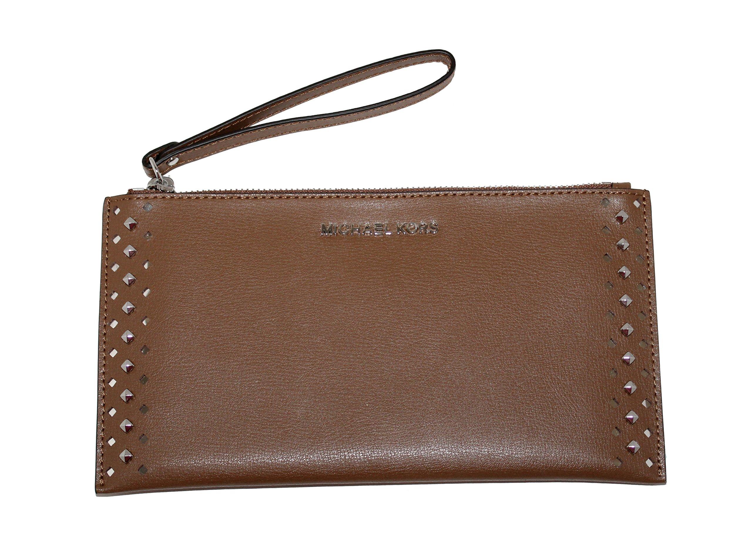 MICHAEL Michael Kors Women's Jet Set Travel Leather Zip Clutch (Luggage)