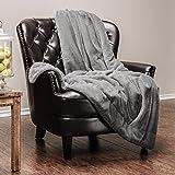 "Chanasya Super Soft Faux Fur Warm Elegant Cozy With Fluffy Sherpa Solid Color Sofa Couch Bed Beige Whitesmoke Microfiber Throw Blanket (50"" x 65"")"