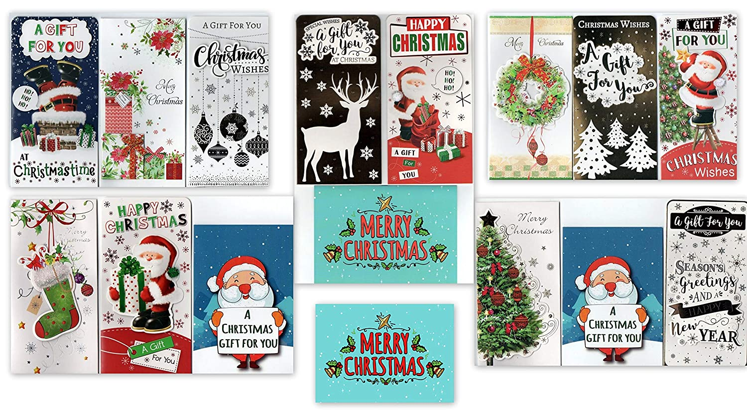 18 Items: Assorted Exclusive Greetingles Christmas Cards and 3D Money Wallets