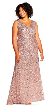 Adrianna Papell Women\'s Rose Gold Sleeveless Sequin Beaded Plus Size ...