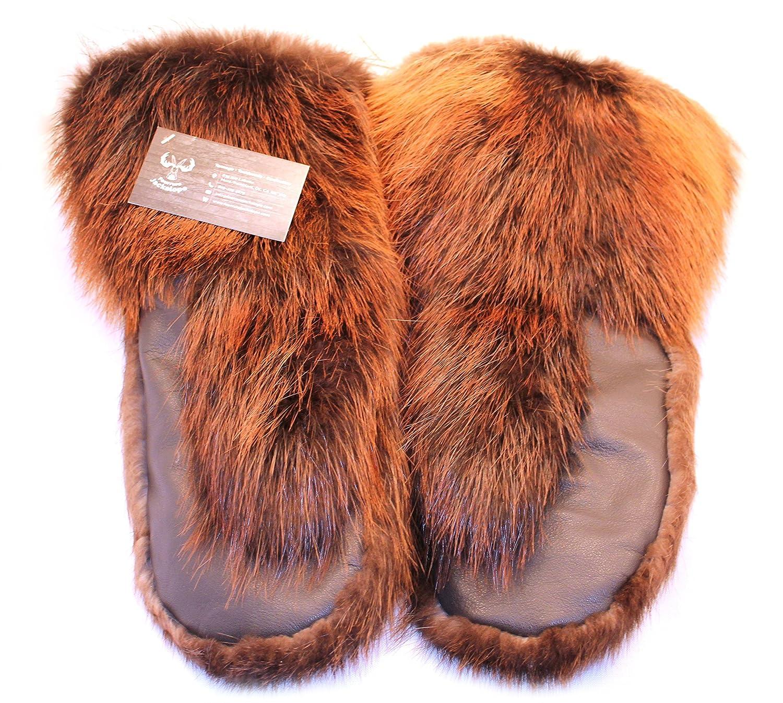 Men's long mittens for winter, real beaver fur, leather (L) Fourrure Jackalope