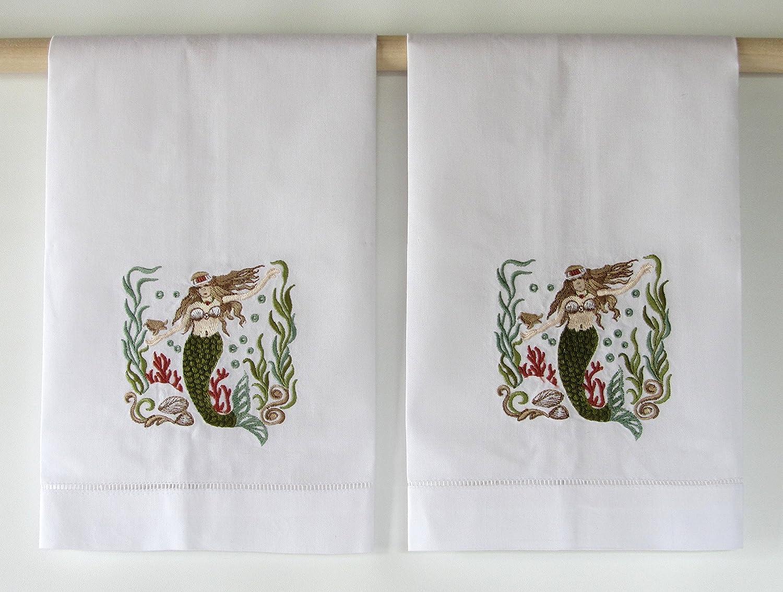 Elegante bordado de toallas de mano de la Sirenita - -Set de 2: Amazon.es: Hogar