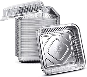 "(35 Pack) 8"" x 8"" Square Baking Cake Pans with Plastic Dome Lids 