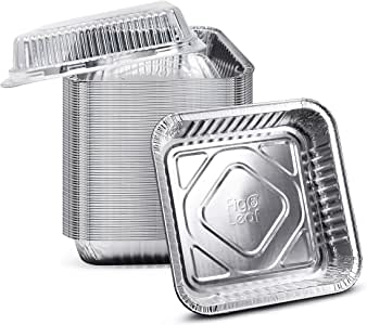 """(35 Pack) 8"""" x 8"""" Square Baking Cake Pans with Plastic Dome Lids 