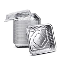 """(210 Pack) 8"""" x 8"""" Square Baking Cake Pans with Plastic Dome Lids   Heavy Duty l Disposable Aluminum Foil Tins l Portable Food Containers l Perfect for Roasting Oven Toaster Cooking"""