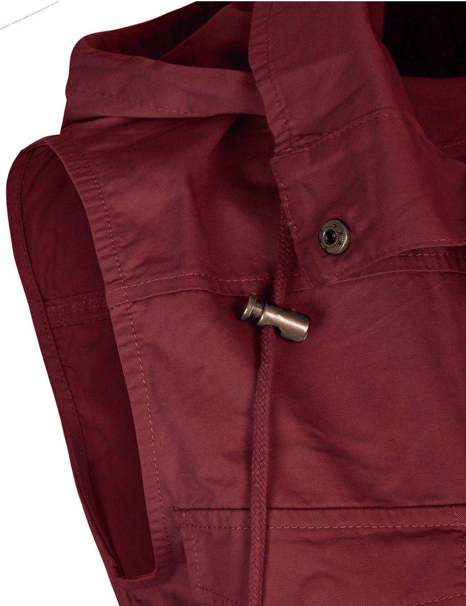 KOGMO Womens Military Anorak Safari Utility Vest with Hood-3X-WINE by KOGMO (Image #5)