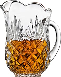 Elegant Crystal Clear Pitcher, With Beautiful Pineapple Pattern, With Spout and Handle, Ideal for Water, Ice Tea, Juice, Fruit Punch and Beverages, Jug Hold 46 oz