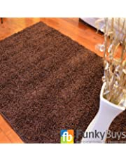 FunkyBuys® Shaggy Rug Plain 5cm Thick Soft Pile Modern 100% Berclon Twist Fibre Non-Shed Polyproylene Heat Set - AVAILABLE IN 6 SIZES On Amazon