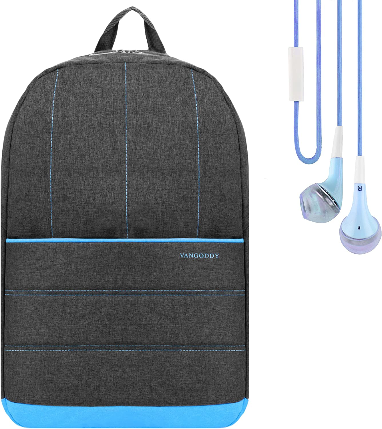 Grove Backpack School Rucksack (Baby Blue) for Lenovo IdeaPad, ThinkPad 14 to 15.6 Laptop with Stereo Earphone with Mic