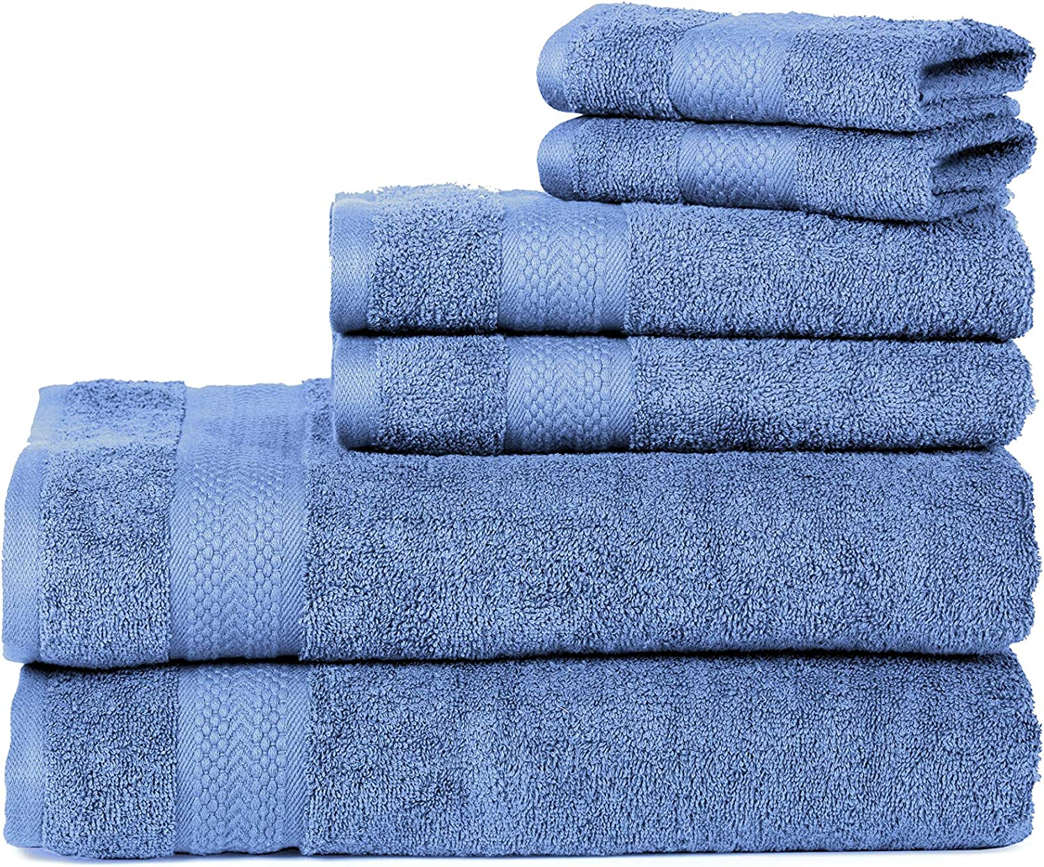 mds Towels Sets 100% Cotton 500GSM Highly Absorbent Quick Dry Bathroom Towels for Home, Kitchen, Hotel & Spa (2 Bath Towels, 2 Hand Towels and 2 washcloths) Wedgewood