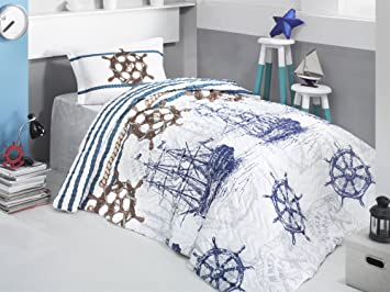 marine nautical bedding vintage ships and helm themed 100 cotton fulltwin - Nautical Bedding