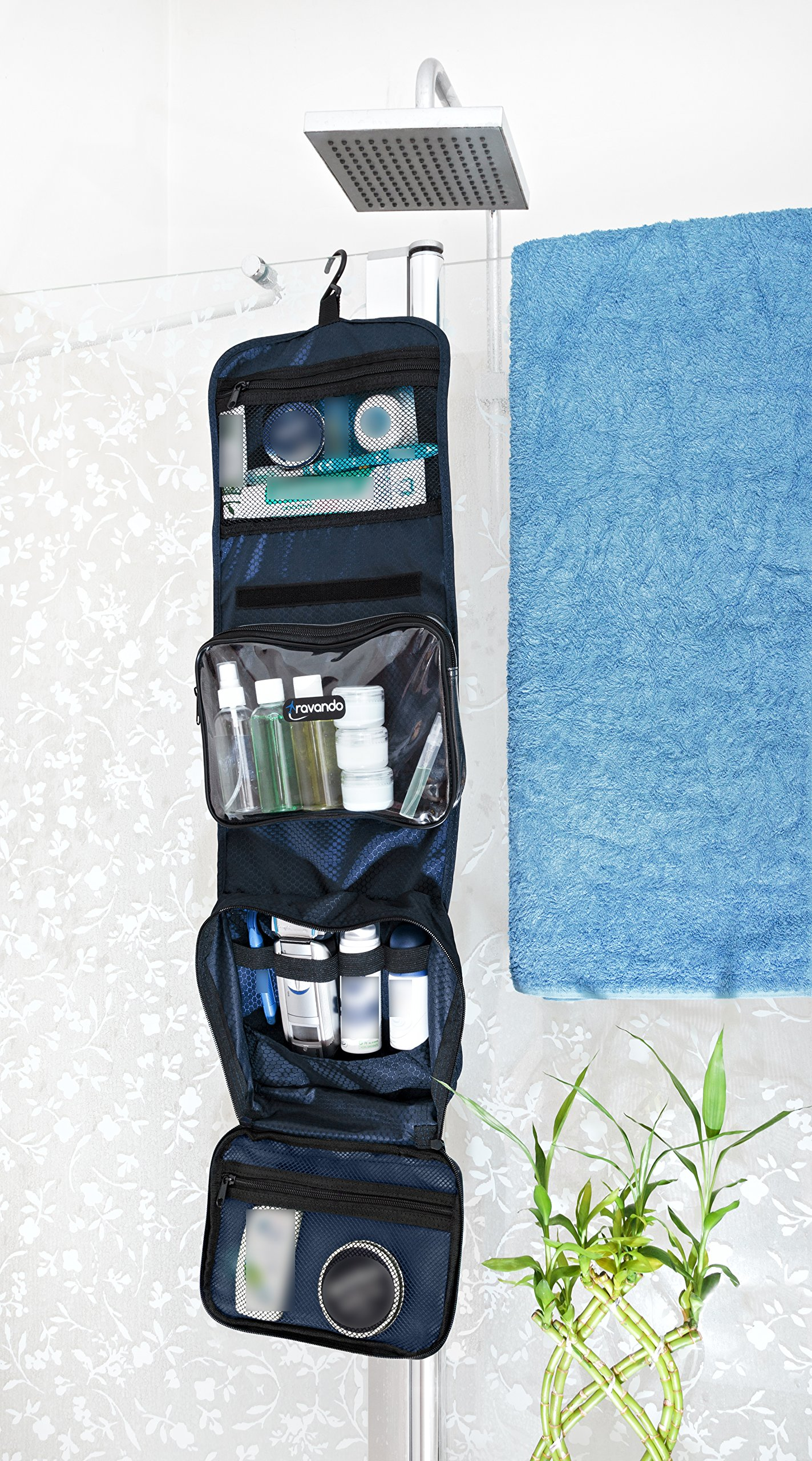 TRAVANDO Hanging Toiletry Bag ''FLEXI'' + 7 Containers for Liquids | Travel Set for Men and Women | Toiletry Kit for Cosmetics, Makeup | Toilet Organiser Suitcase Roll Wash Bag by TRAVANDO (Image #8)