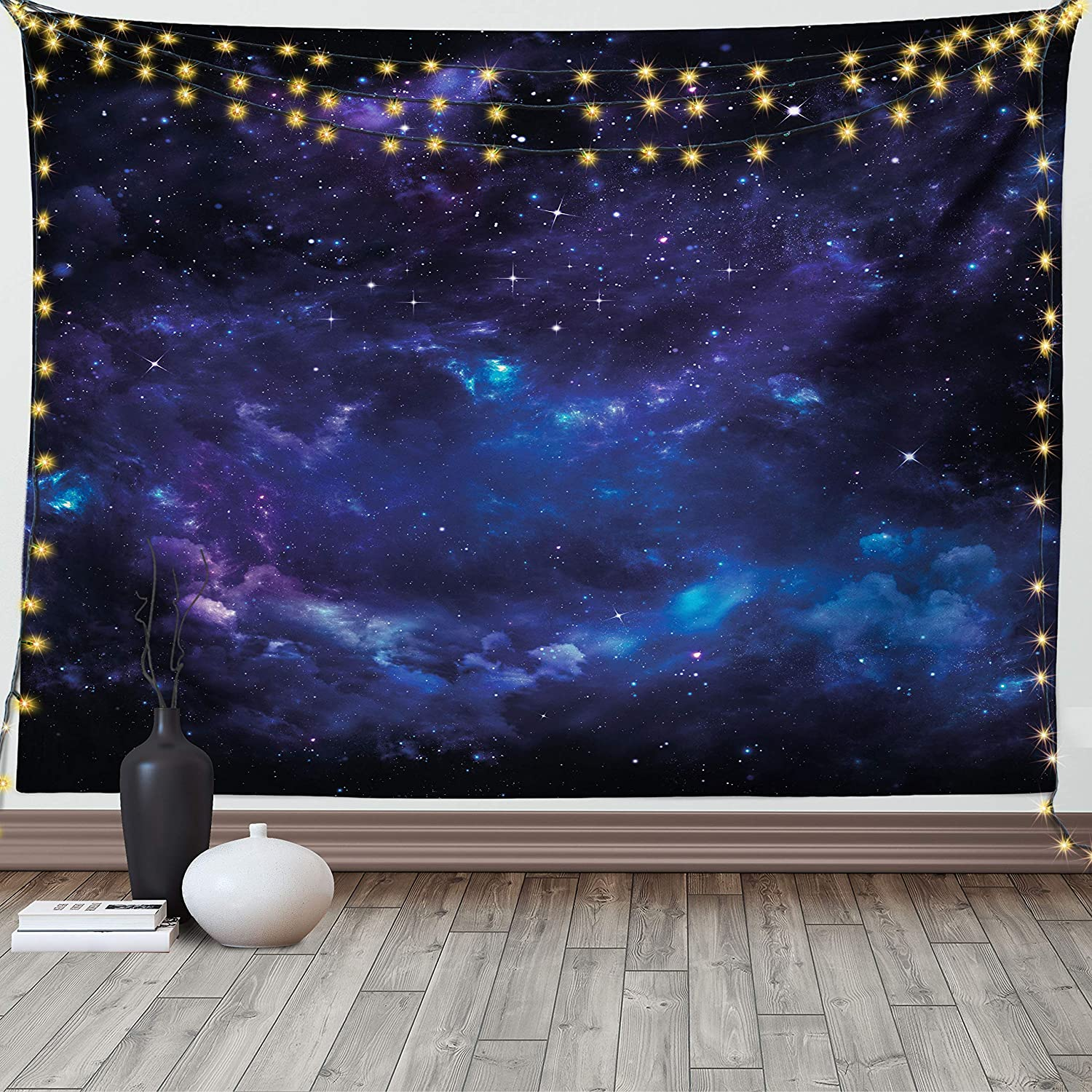 Ambesonne Sky Tapestry, Space Night Time Universe Stars and Nebulas Distant Parts of Galaxy, Wide Wall Hanging for Bedroom Living Room Dorm, 60