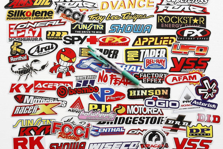 Mega Pack Car Decal Racing Decal Sticker for Cars Bumper Window Sponsor Motocross Racing Tuning Motorbike Bundle Dirt Bike Full Color 66pcs