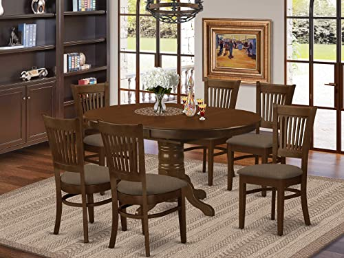 KEVA7-ESP-C 7 Pc set Kenley with a 18 Leaf and 6 Linen Cushion Dinette Chairs