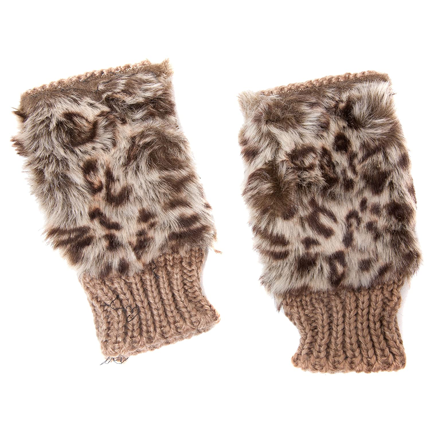 Ladies Leopard Print Design Fingerless Fashion Gloves with Faux Fur Tassels