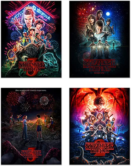 Stranger Things Poster Prints Set Of 4 11 Inches X 14 Inches Season 1 2 3 Eleven Dustin Lucas Mike Will Max Hopper
