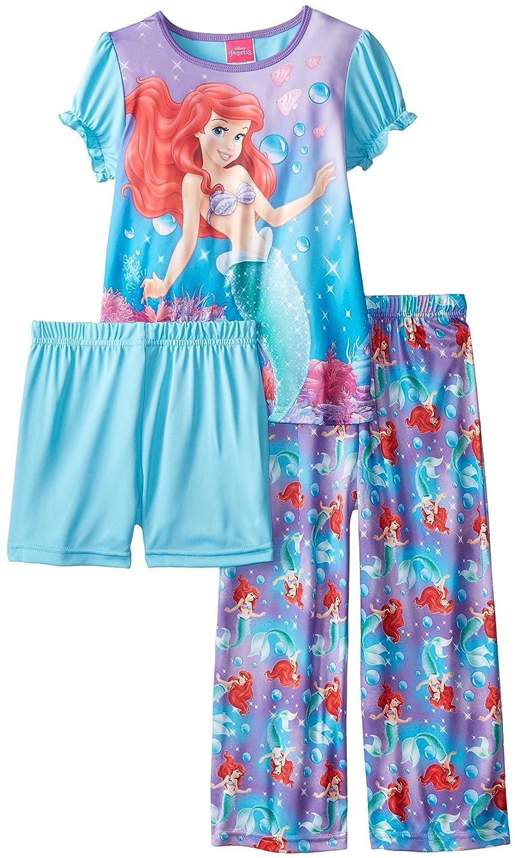 Disney Princess Girls' Under The Sea 3 Piece Ariel Pajama Set Multi 10 [Apparel]