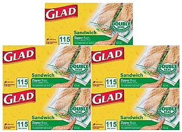 Amazon.com: Glad Food Storage Bags, Zipper Sandwich, 115 ...