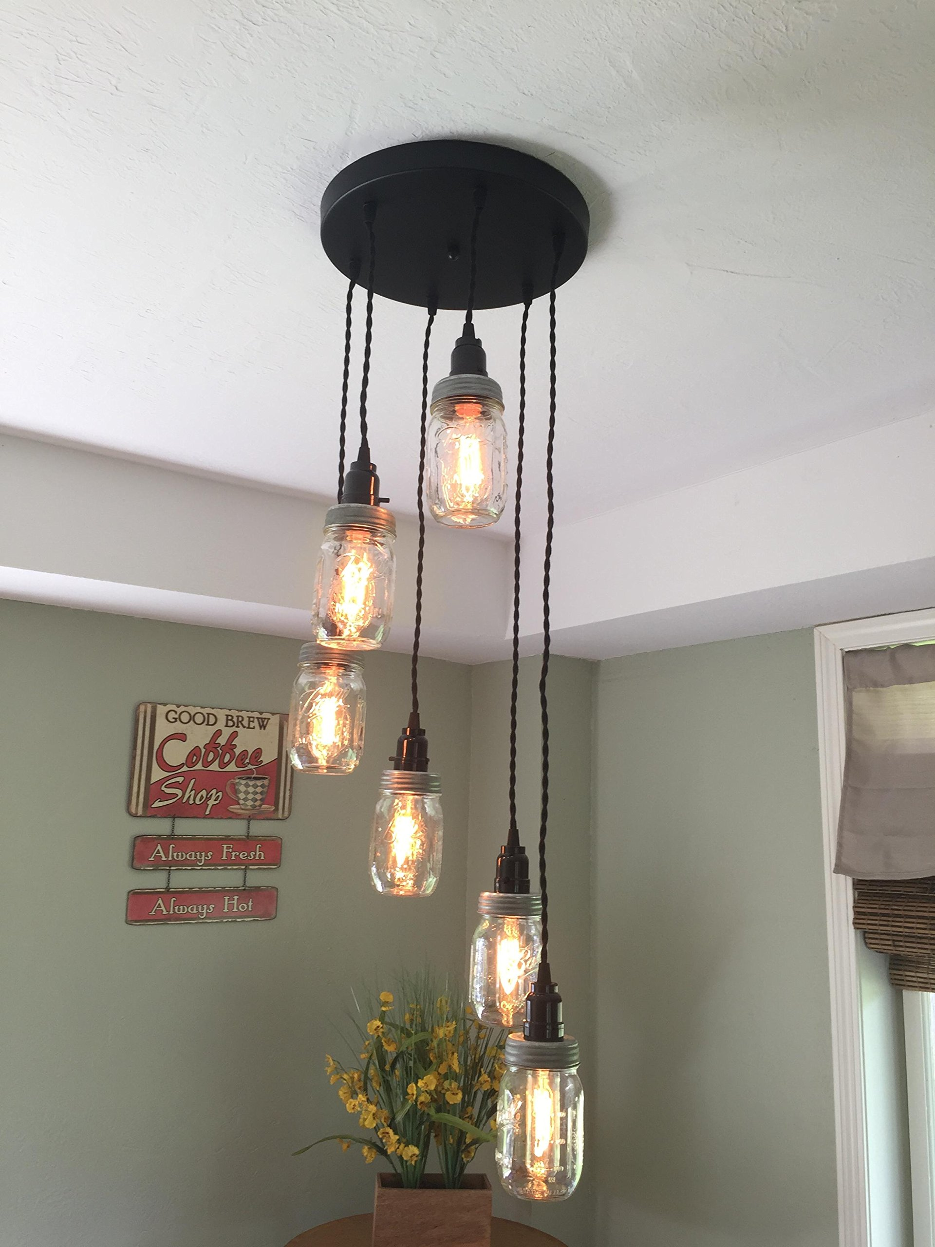 Mason Jar Chandelier, 6 Strand Spiral , 12'' Black Canopy with Twisted Cloth Covered Cord - Hand Crafted in the USA (Black Cord)