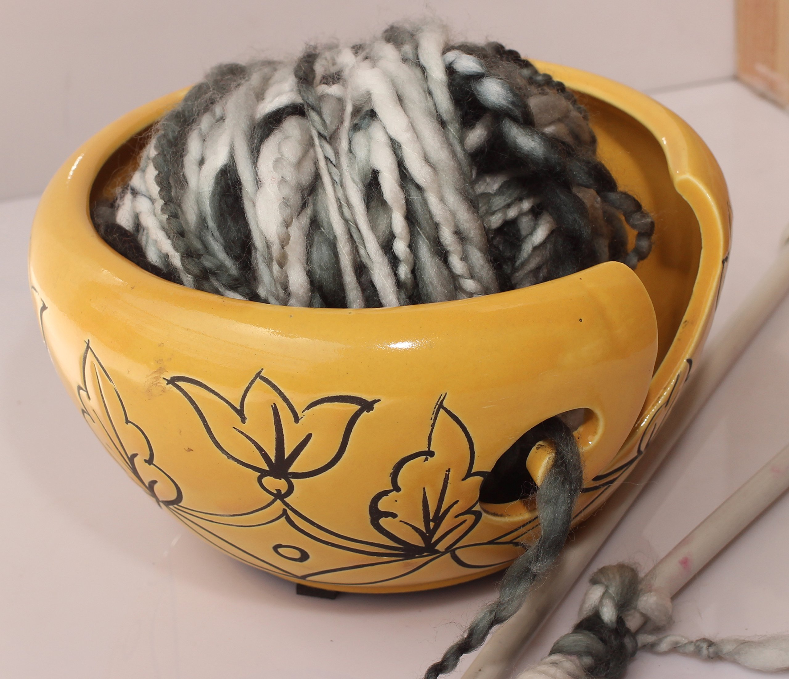2018 - 6'' Ceramic Knitting Yarn Bowl - Knitting Bowl With Holes Storage - Crochet Yarn Holder Bowl - Perfect For Men, Women and Seniors