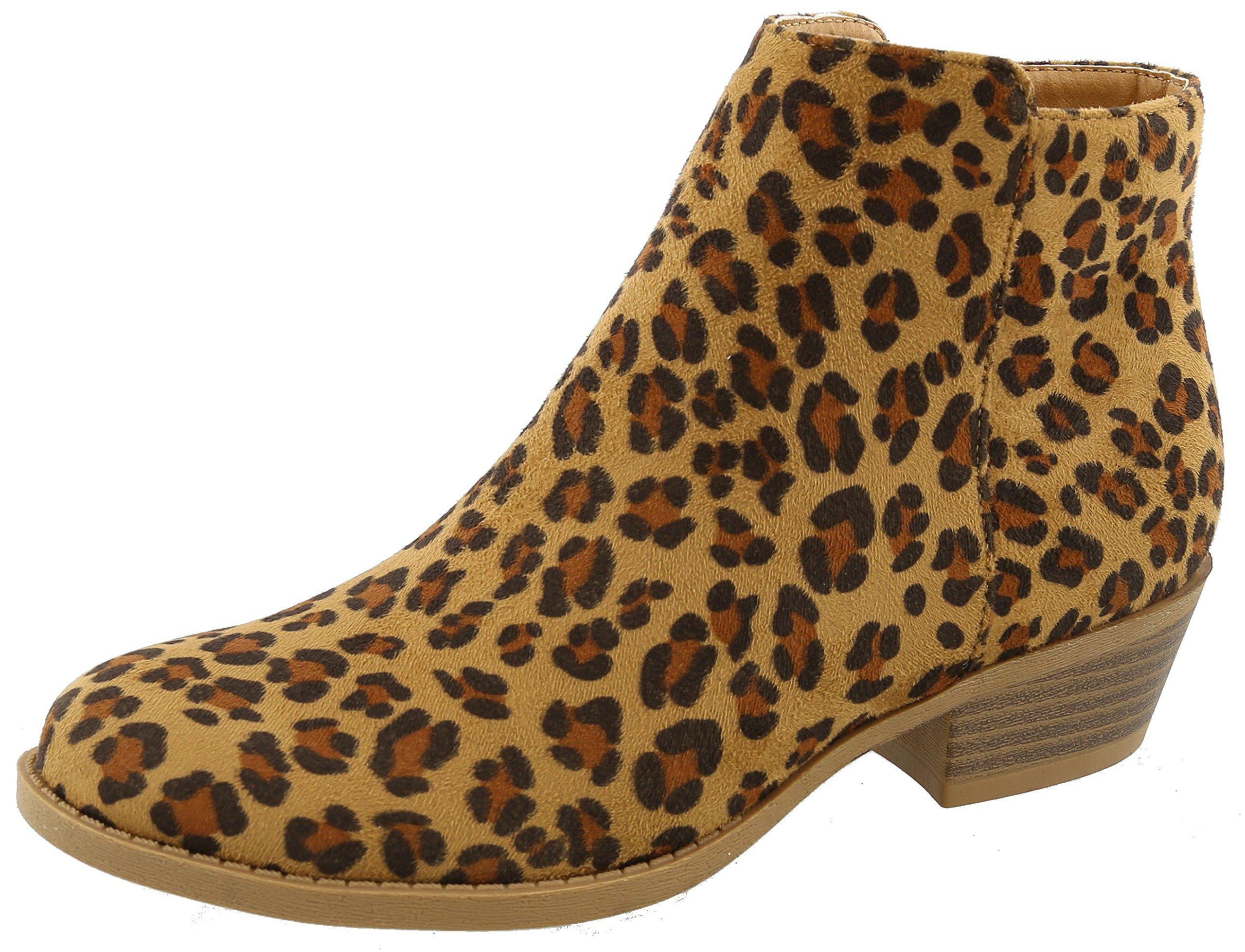 Top Moda Women's Inside Zip Round Toe Low Block Heel Ankle Bootie (5.5 B(M) US, Leopard)